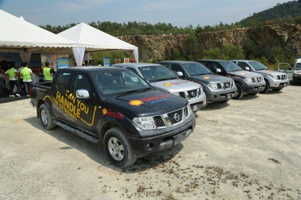 Tough workhorses...The fleet of Nissan Navarras used in the Shell Helix Offroad Challenge