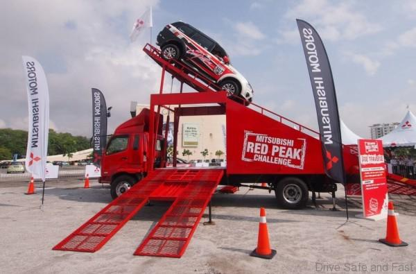 Mitsubishi Pajero Sport VGT showing off its capabilities on the giant obstacle ramp