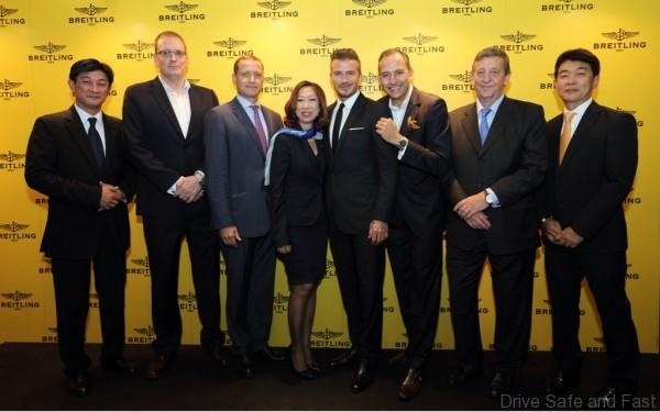 David Beckham with Marco Sbriccoli, International Sales Director of Breitling and Management of Melchers Time