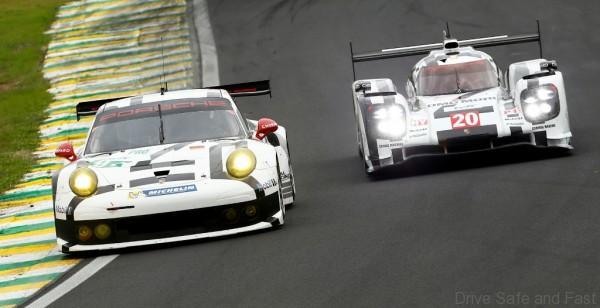 Porsche 911 RSR, Porsche Team Manthey: Joerg Bergmeister, Richard Lietz, Porsche 919 Hybrid, Porsche Team: Timo Bernhard, Brendon Hartley, Mark Webber (l-r)