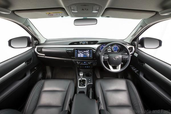 All-new HiLux interior (pre-production 4x4 Turbo Diesel Double Cab SR5 model shown with optional leather accented interior)