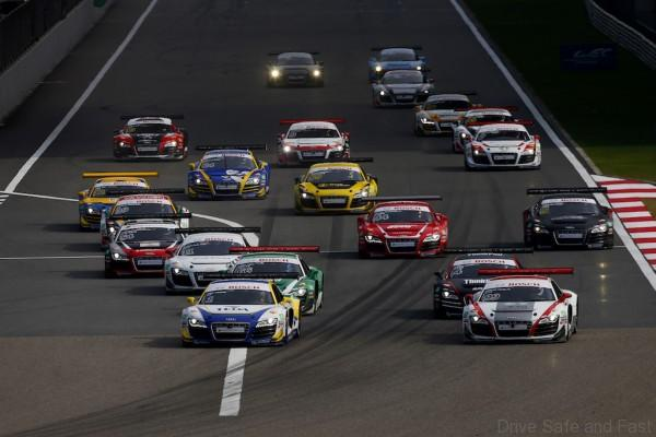 Start of race 1 at Audi R8 LMS Cup, Rd6, Shanghai Circuit WEC, China, 30-31 October 2015.