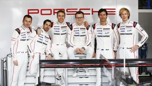 Porsche Team: Romain Dumas, Neel Jani, Timo Bernhard, Marc Lieb, Mark Webber, Brendon Hartley (l-r)