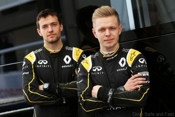 (L to R): Jolyon Palmer (GBR) Renault Sport F1 Team with team mate Kevin Magnussen (DEN) Renault Sport F1 Team. Formula One Testing, Day 2, Tuesday 23rd February 2016. Barcelona, Spain.