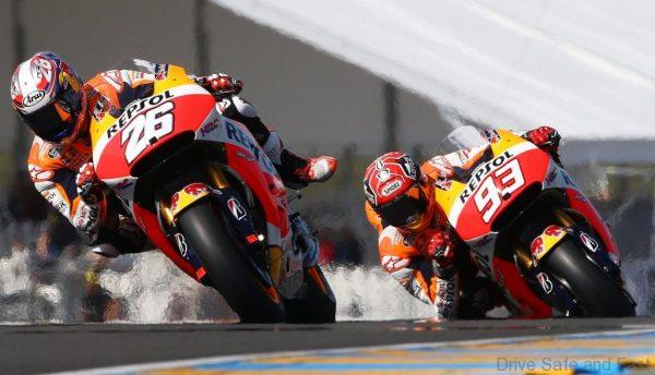 LE MANS,FRANCE,15.MAY.15 - MOTORSPORTS, MOTORBIKE - MotoGP, Le Mans circuit. Image shows Dani Pedrosa (ESP/ Honda) and Marc Marquez (ESP/ Honda). Photo: GEPA pictures/ Gold and Goose/ David Goldman - For editorial use only. Image is free of charge.