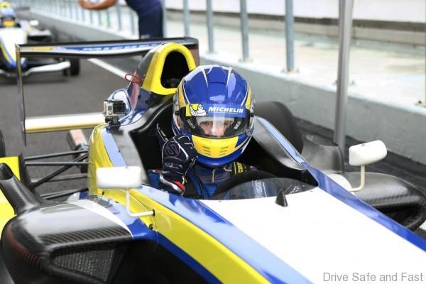 Participant enjoying his ride on the Formula 4 car at 2016 MPSE