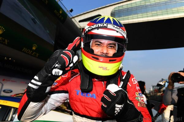 Alex Yoong (MAL) Audi TEDA Racing Team celebrates Pole Position in Parc Ferme at Audi R8 LMS Cup, Rd11 and Rd12, Shanghai International Circuit, Shanghai, China, 4-5 November 2016.
